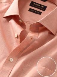 Venete Orange Cotton Classic Fit Formal Melange Solid Shirt