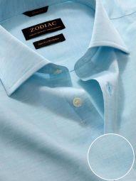 Venete Turquoise Cotton Classic Fit Formal Melange Solid Shirt