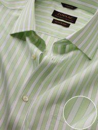 Venete Mint Cotton Classic Fit Formal Striped Melange Shirt