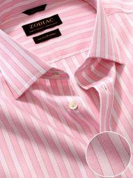Venete Pink Cotton Classic Fit Formal Striped Melange Shirt