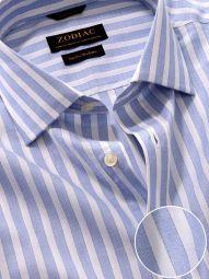 Venete Sky Cotton Classic Fit Formal Striped Melange Shirt