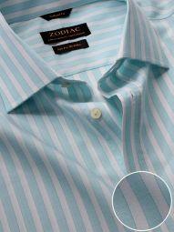 Venete Turquoise Cotton Classic Fit Formal Striped Melange Shirt