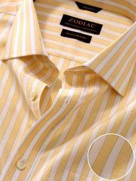 Venete Yellow Cotton Classic Fit Formal Striped Melange Shirt