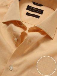 Venete Orange Cotton Tailored Fit Formal Melange Solid Shirt