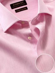 Vercelli Pink Cotton Classic Fit Formal Striped Shirt