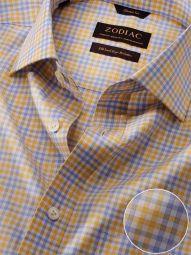 Vivace Yellow Cotton Classic Fit Formal Checks Shirt