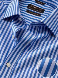 Vivace Blue Cotton Classic Fit Formal Striped Shirt