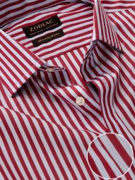 Vivace Maroon Cotton Classic Fit Formal Striped Shirt
