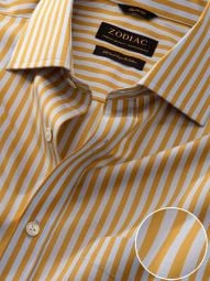 Vivace Yellow Cotton Classic Fit Formal Striped Shirt
