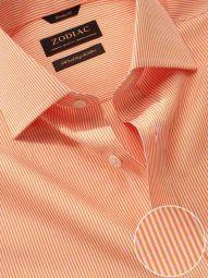 Vivace Orange Cotton Classic Fit Formal Striped Shirt