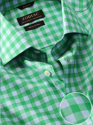 Vivace Green Cotton Classic Fit Formal Checks Shirt