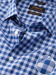 Vivace Navy Cotton Tailored Fit Formal Checks Shirt