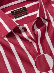 Vivace Maroon Cotton Tailored Fit Formal Striped Shirt