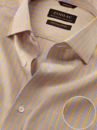 Vivace Yellow Cotton Tailored Fit Formal Striped Shirt