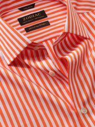 Vivace Orange Cotton Tailored Fit Formal Striped Shirt