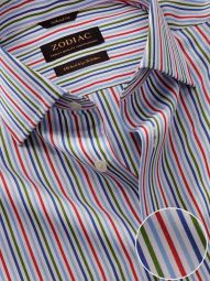 Vivace Red Cotton Tailored Fit Formal Striped Shirt