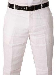 Positano Linen Classic Fit White Trouser