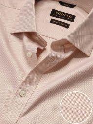 Cione Cream Cotton Classic Fit Formal Checks Shirt