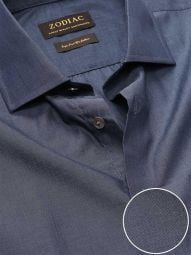 Fil A Fil Navy Cotton Classic Fit Evening Solid Shirt