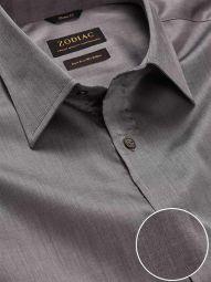 Fine Dark Grey Cotton Classic Fit Evening Solid Shirt