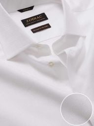 Structure White Cotton Tailored Fit Formal Solid Shirt