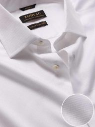 Tramonti White Cotton Tailored Fit Formal Solid Shirt